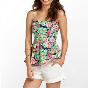 Vintage Lilly Pulitzer floral peplum tank top